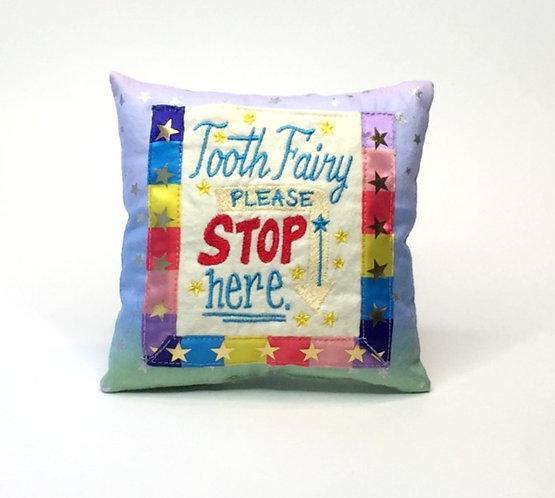 Sveta's Kidswear Rainbow and Stars Tooth Fairy Pillow, front view.