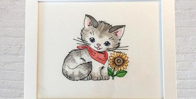 Sveta's Kidswear Kitty with Sunflower Framed Art, White Colored Frame.