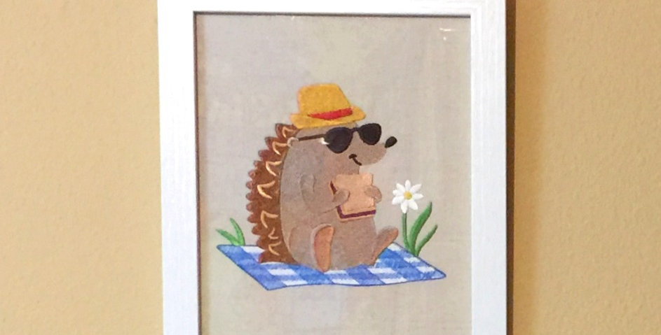 Sveta's Kidswear Hedgehog Having a Picnic, Framed Arts.