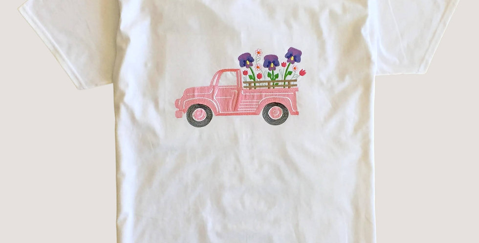White T-shirt With Truck and Flowers Embroidered Design.