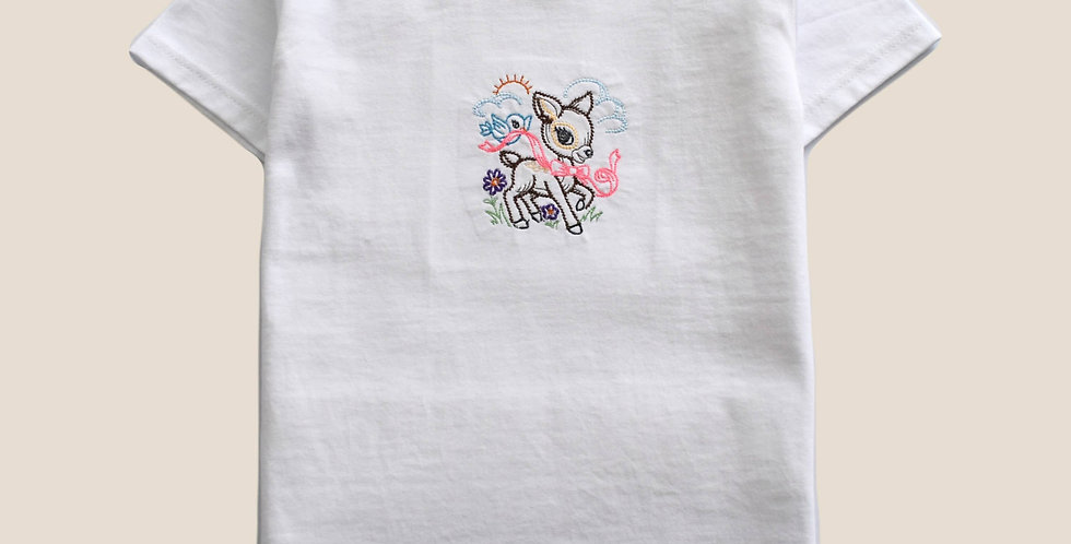 Playful Deer Embroidered T-shirt for Toddler