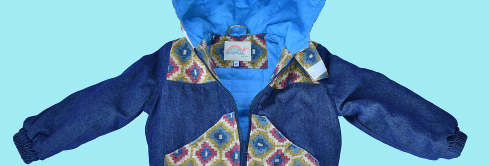 Royal Denim with Stylish Finishing Hooded Jacket