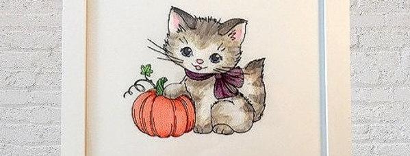 Sveta's Kidswear Kitty and Pumpkin Framed Art, White Colored Frame.