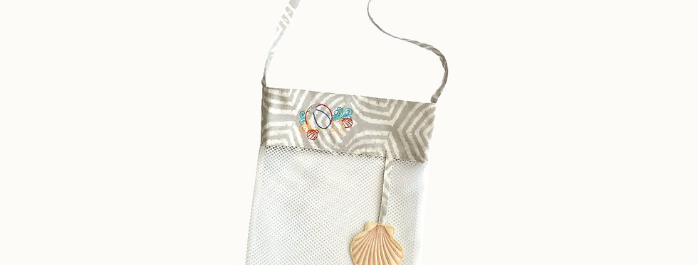 Mesh Bag for Sea Shells, White with Embroidered Elements.