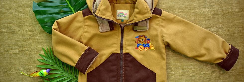 Lion on a Safari Train Embroidered Denim Jacket