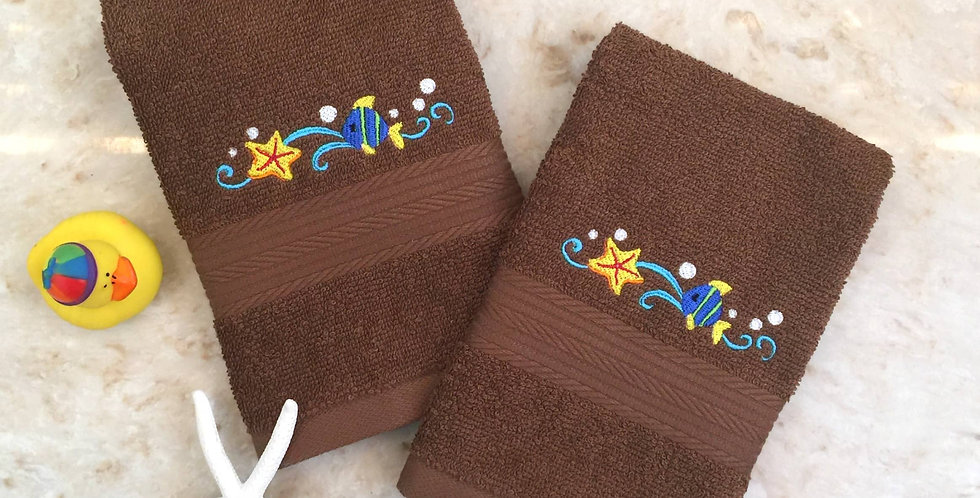 Sveta's Kidswear Brown Tropical Fish Embroidered Washcloth, Two Pack.