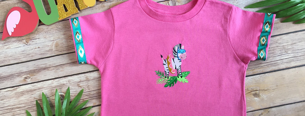 Zebra with a Floaty Embroidered T-Shirt for Toddler