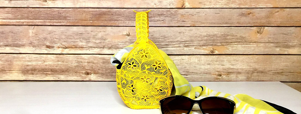 Yellow Lace Basket with Scarf and Sunglasses.