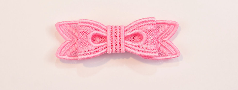 Sveta's Kidswear classic lace bow hair accessory in light pink color front view