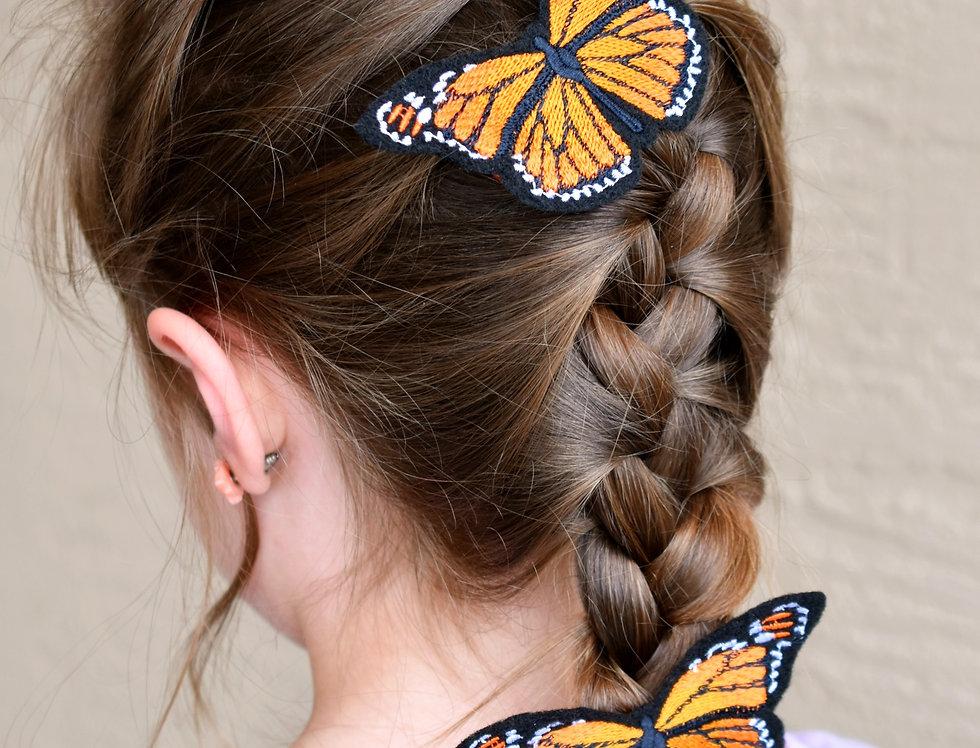 Monarch Butterflies Hair Clips 2 Pack