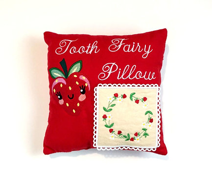 Sveta's Kidswear Red, Strawberry Embroidered Tooth Fairy Pillow,