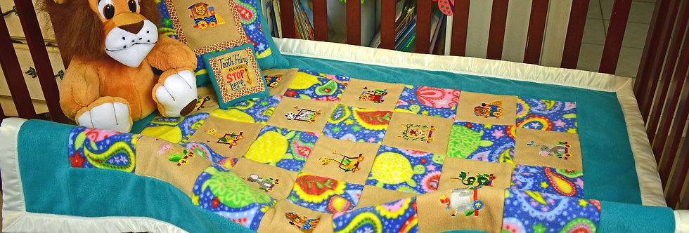 Safari Animals on a Train Toddler Blanket (Educational)