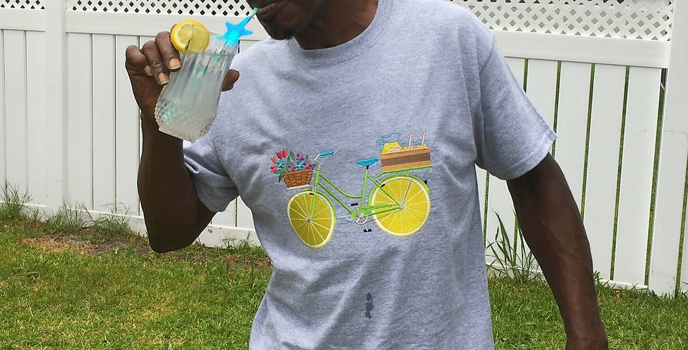 Man Wears Lemonade Bicycle Embroidered T-Shirt, Grey Color.