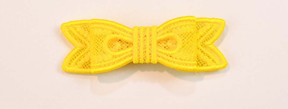 Sveta's Kidswear classic lace bow hair accessory in yellow color front view