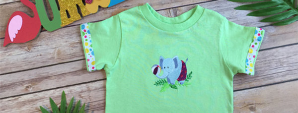 An Elephant  on a Beach Embroidered T-shirt for Toddler