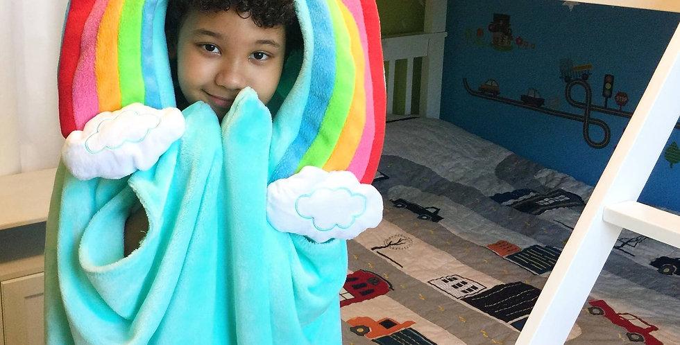 Sveta's Kidswear Rainbow Hooded Kids Blanket.