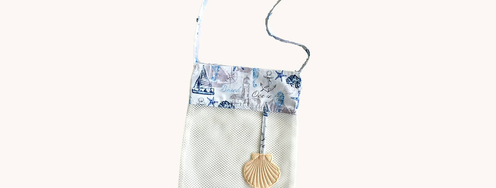 Mesh Bag for Sea Shells, White with Embroidered Elements, front view.