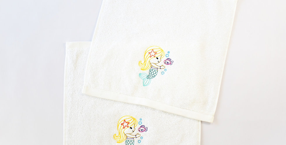 Sveta's Kidswear White, Mermaid Embroidered Washcloth, Two Pack.