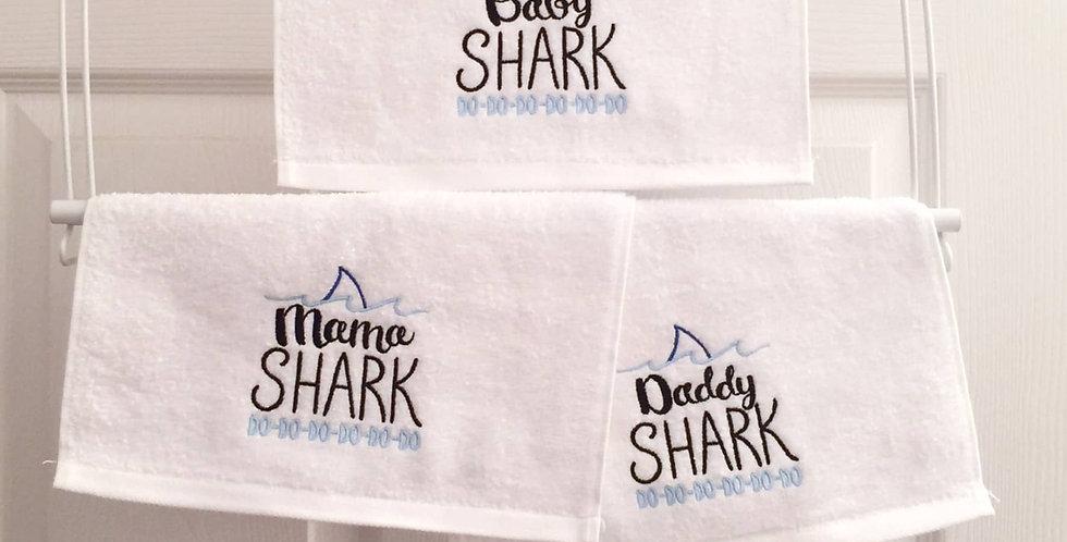 Sveta's Kidswear White Washcloth, Baby Shark Text Embroidered, Set Of Three.
