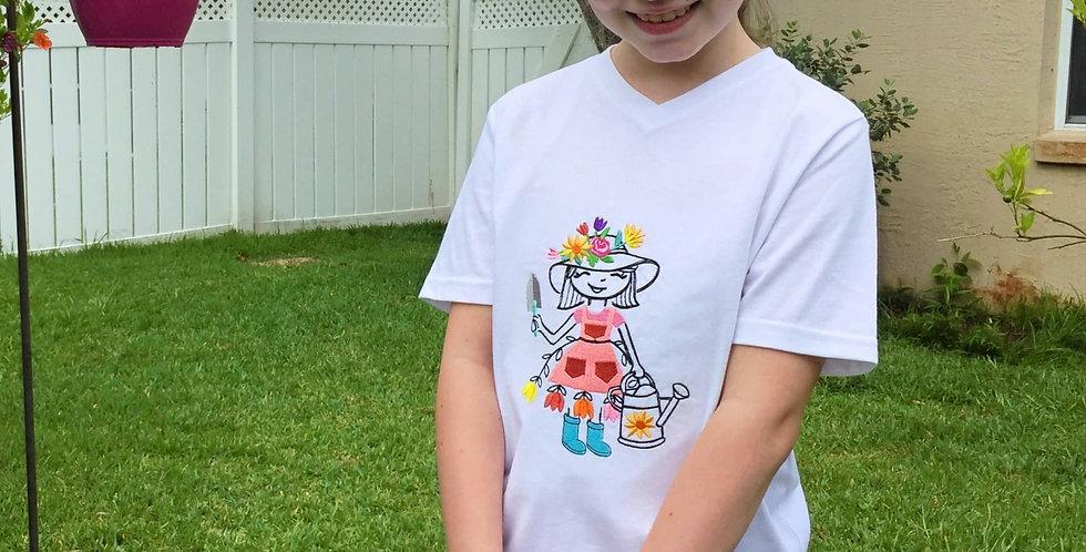 Girl Wears Garden Girl Embroidered T-shirt.