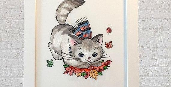 Sveta's Kidswear Kitty Plays With Autumn Leaves Frame Art, White Colored Frame.