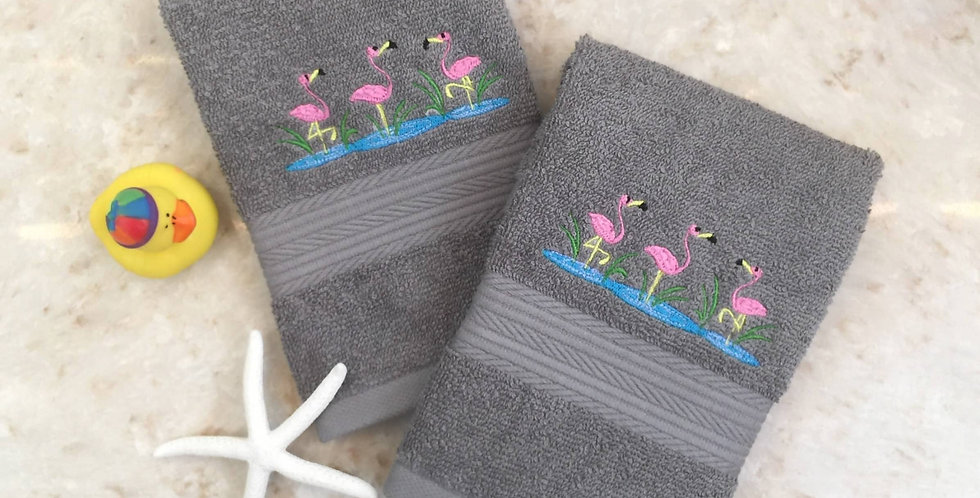 Sveta's Kidswear Grey, Embroidered Flamingoes Washcloth Two Pack.