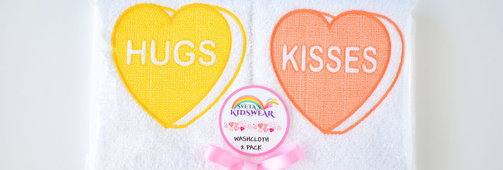 Candy Hearts Washcloth 2 Pack