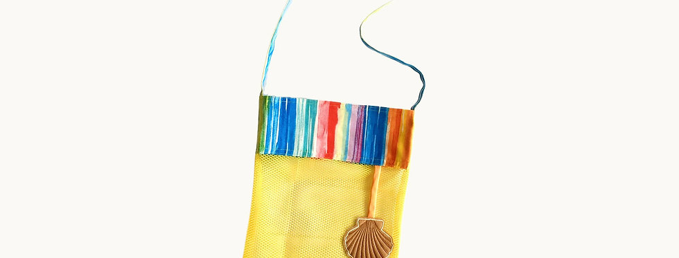 Mesh Bag for Sea Shells, Yellow with Embroidered Elements.