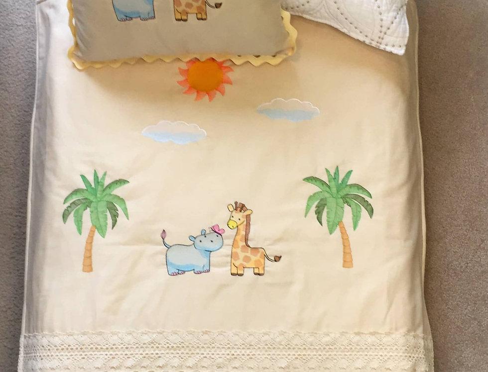 Sveta's Kidswear Safari Animals Themed Baby Blanket with Pillow Set.