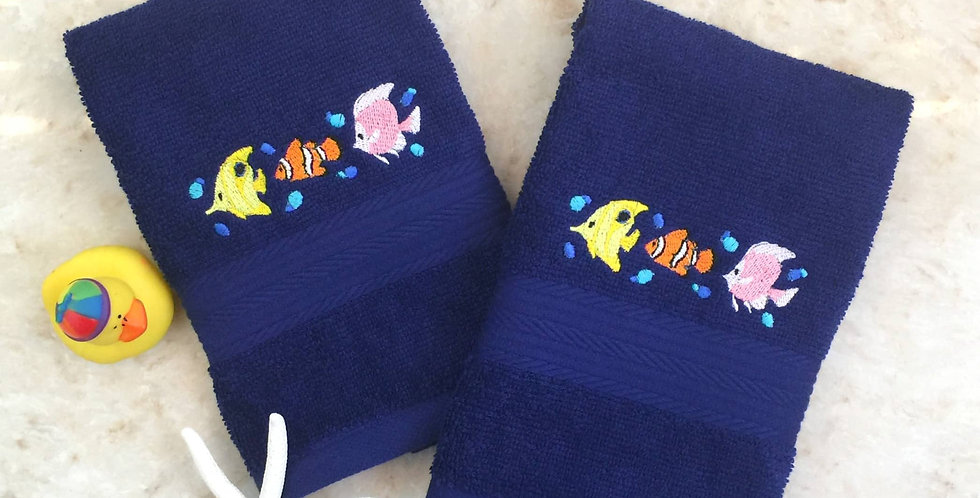 Sveta's Kidswear Blue, Embroidered Exotic Fish Washcloth, Two Pack.