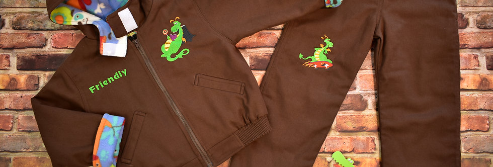 Friendly Dragon Embroidered Denim Jacket & Pans Set