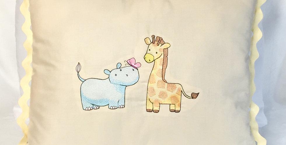 Sveta's Kidswear Hippo and Giraffe Decorative Pillow.