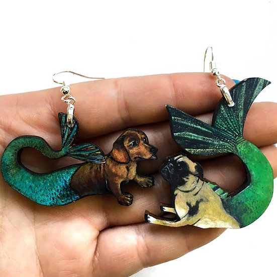Mermaid Pug and Dachshund Earrings