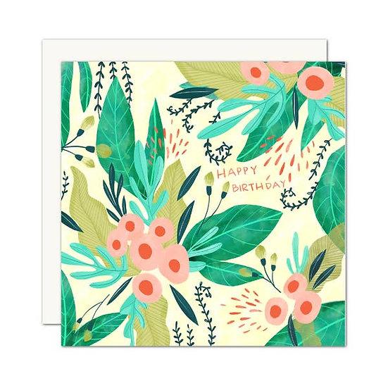 Happy Birthday Tropical Floral Card