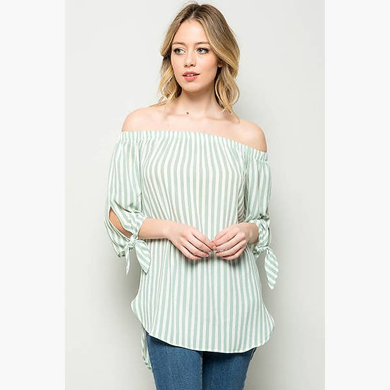 Off Shoulder Striped Blouse Tunic - Mint