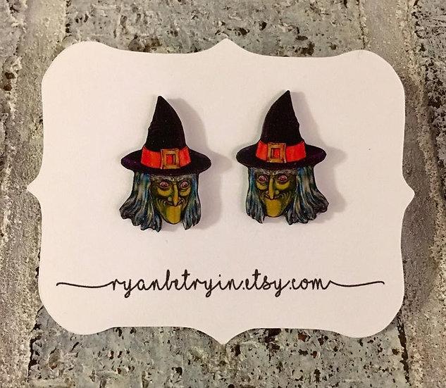 Vintage Witch Stud Earrings