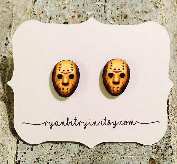 Jason Vorhees Friday the 13th Vintage Stud Earrings