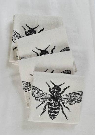 Set of 4 Organic Honeybee Cloth Napkins