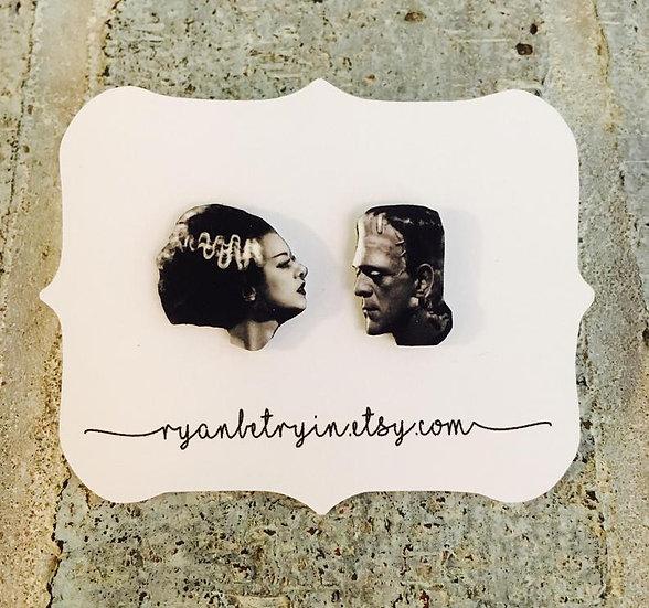 Frankenstein and his Bride Vintage  Stud Earrings