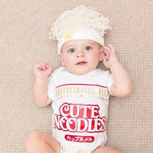 Short Sleeve Ramen Baby Bodysuit with Hat
