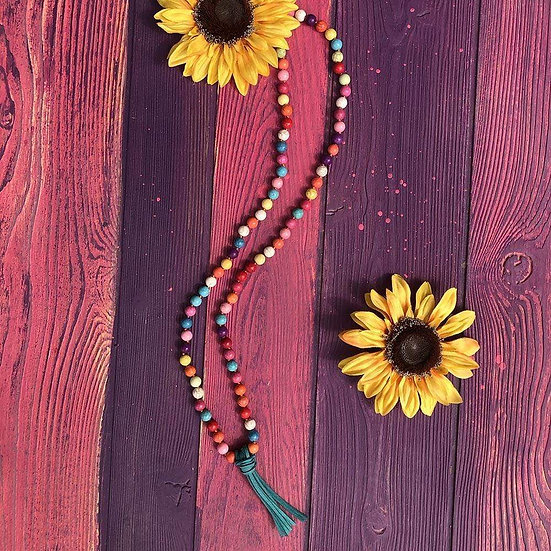 Rainbow Turquoise Tassel Beaded Necklace