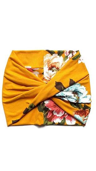 Mustard Floral - Wide Headband - Turban - Twist - Yoga