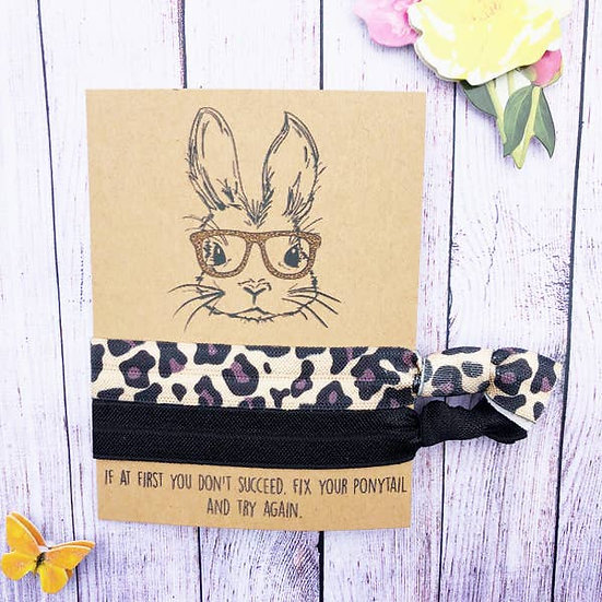 Cheetah Bunny With Glasses Hair Tie Set