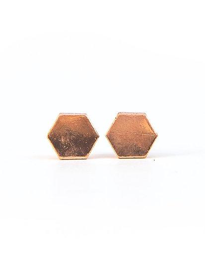 Rose Gold Hexagon Studs