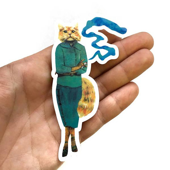 Smoking Cat Vinyl Sticker