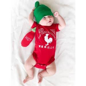 Short Sleeve Sriracha Baby Bodysuit with Hat