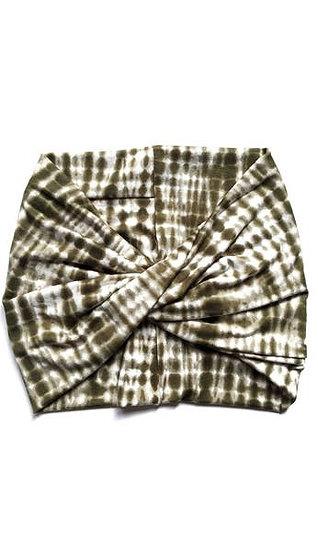 Olive Tie Dye - Wide Headband - Turban - Twist - Yoga