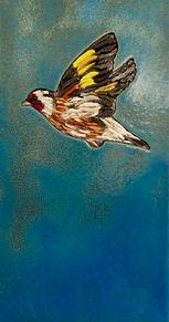 Goldfinch  30x16 smalti and glass in han