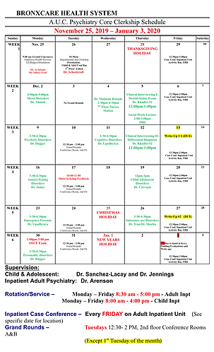Psychiatry Schedule