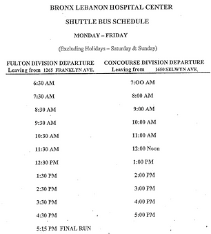 BronxCare Shuttle Bus Schedule